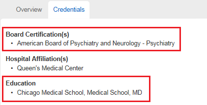 Screenshot showing where the provider recieved their education and board certifications.