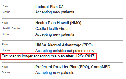 Screenshot showing where the provider's term date is displayed.