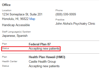 Screenshot showing where the provider's accepting new patients indicator is displayed.